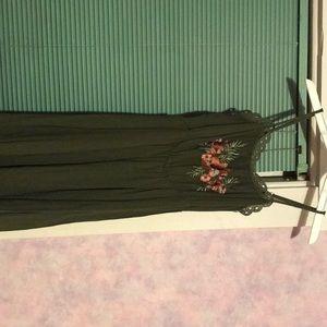 Forest Green, thin strap summer dress
